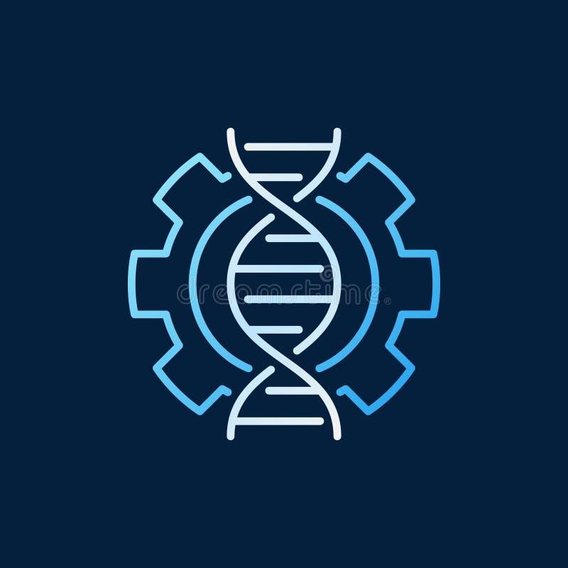 ADN dans l'icône ou le logo colorée par vecteur de roue dentée dans le style d'ensemble illustration libre de droits