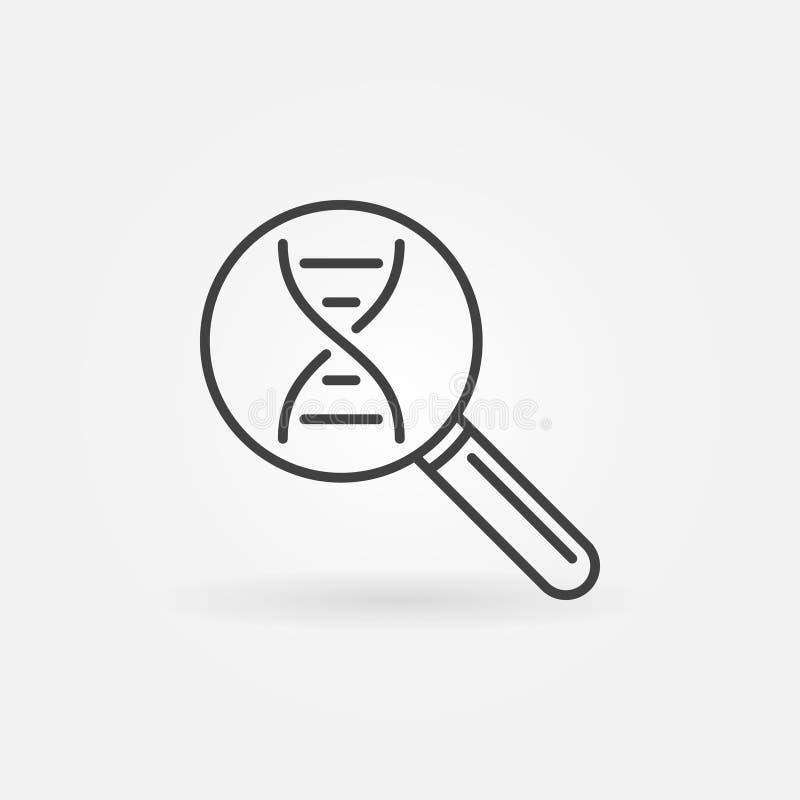 ADN dans la ligne icône de vecteur de loupe Symbole de recherches de la génétique illustration stock