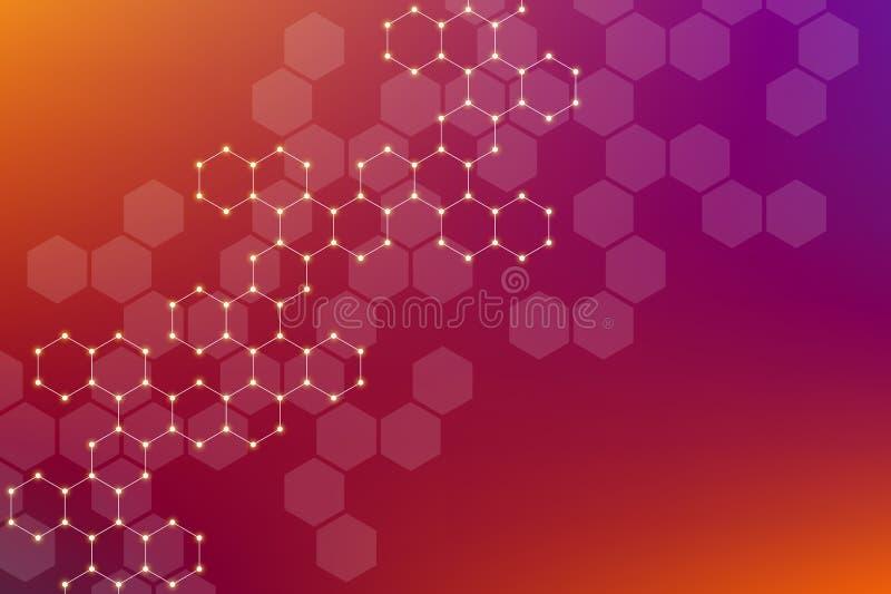 ADN de molécule, génétique et composés chimiques, illustration illustration libre de droits