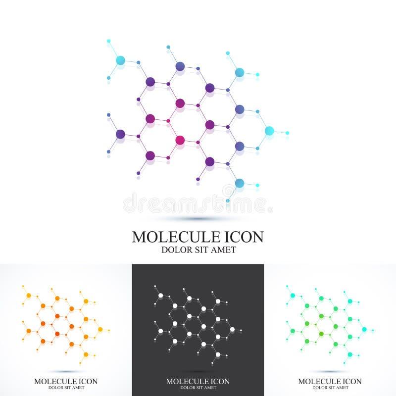 ADN do ícone do grupo e molécula modernos Vector o molde para a medicina, ciência, tecnologia, química, biotecnologia ilustração stock