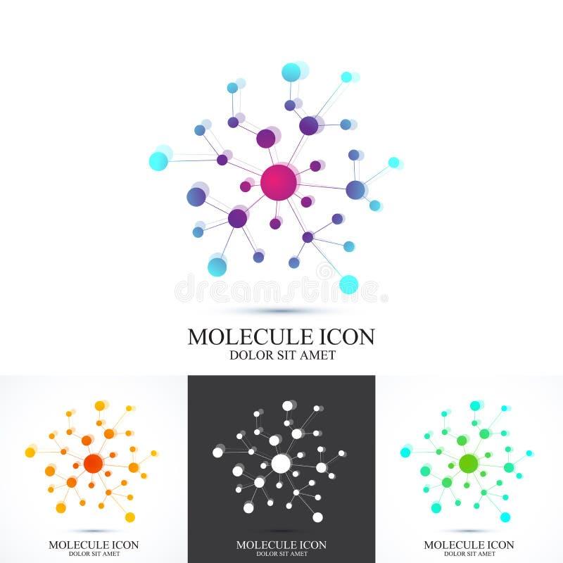 ADN do ícone do logotype do grupo e molécula modernos Vector o molde para a medicina, ciência, tecnologia, química, biotecnologia ilustração stock