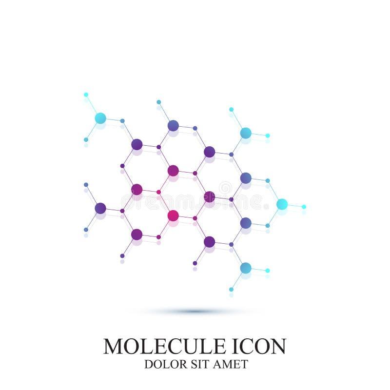 ADN do ícone e molécula modernos Vector o molde para a medicina, ciência, tecnologia, química, biotecnologia ilustração royalty free