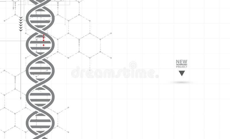 ADN et fond médical et de technologie molécule futuriste s illustration de vecteur