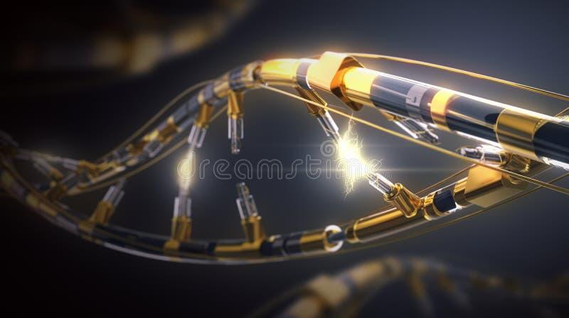 ADN-helix Hi Tech en el campo de la ingeniería genética fotos de archivo