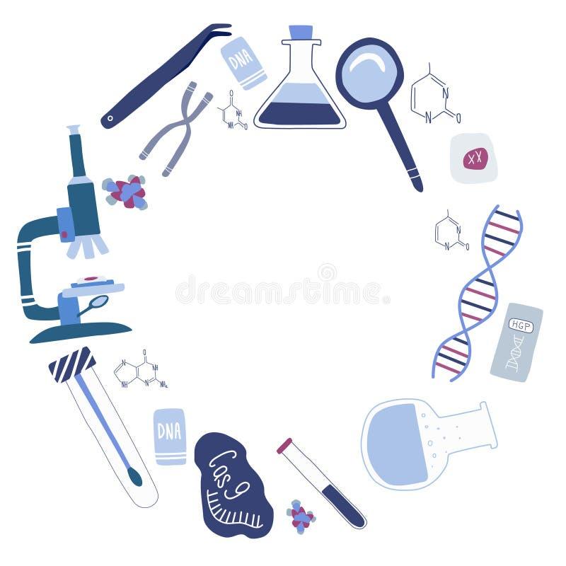 ADN Helix, microscopio, cromosoma, ARN cas9. ilustración vectorial dibujada a mano en estilo de caricatura de moda ilustración del vector