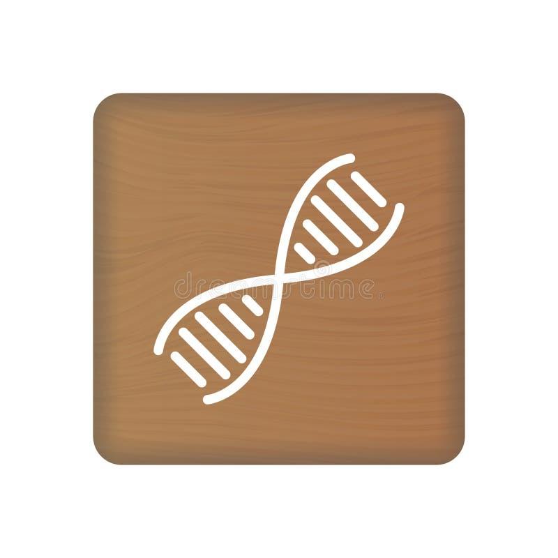 ADN humaine, icône de la génétique sur les blocs en bois d'isolement sur un fond blanc Illustration de vecteur illustration de vecteur
