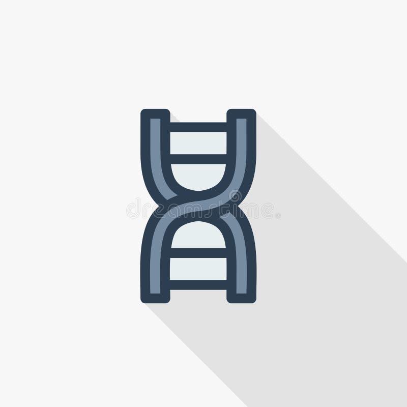 ADN, la science génétique, molécule, ligne mince icône plate de biologie de couleur Symbole linéaire de vecteur Longue conception illustration de vecteur