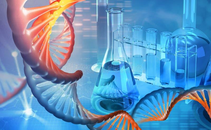 ADN microbiology Laboratório científico Estudos do genoma humano ilustração stock