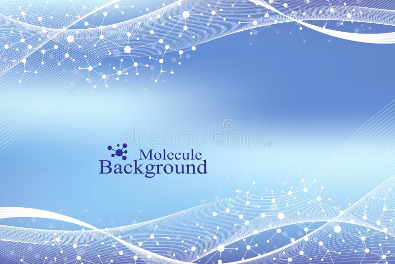 ADN moderno da molécula da estrutura átomo Molécula e fundo de uma comunicação para a medicina, ciência, tecnologia, química ilustração do vetor
