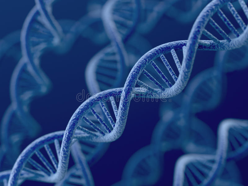 ADN no fundo azul ilustração do vetor