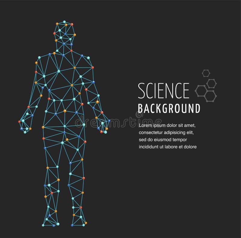 ADN, símbolo genético do homem com estrutura da molécula do ADN ilustração stock
