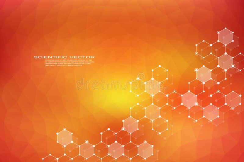 ADN sextavado da molécula da estrutura do sistema dos neurônios genético e compostos químicos médicos ou fundo científico ilustração stock