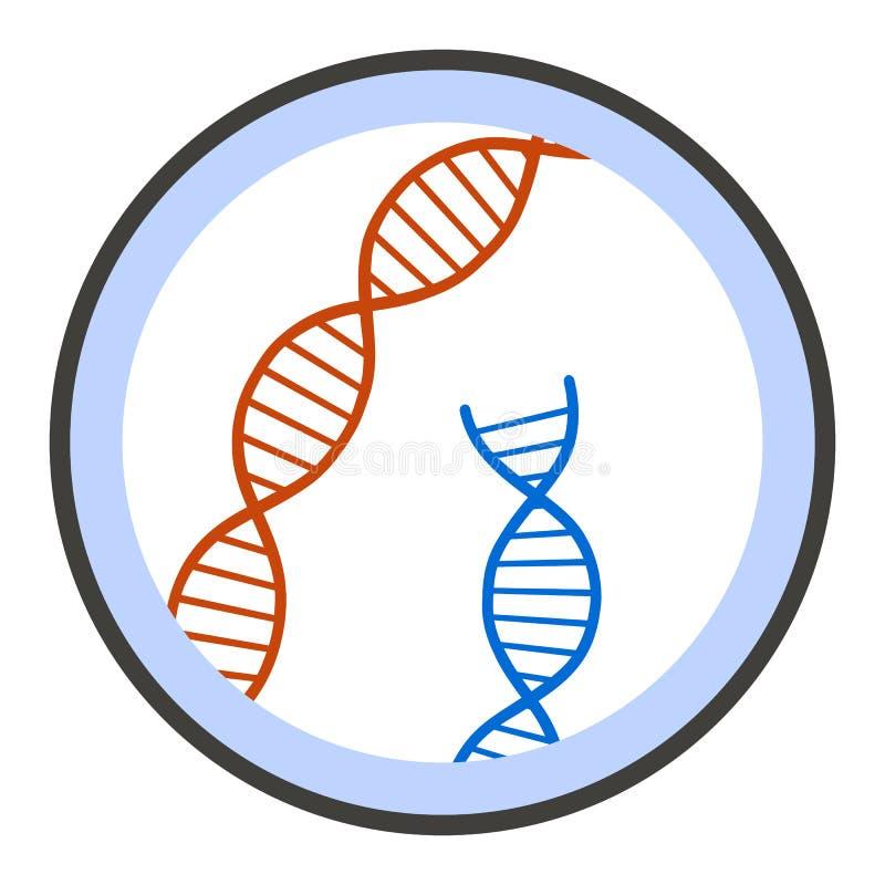 ADN sob o ícone do microscópio, estilo liso ilustração royalty free
