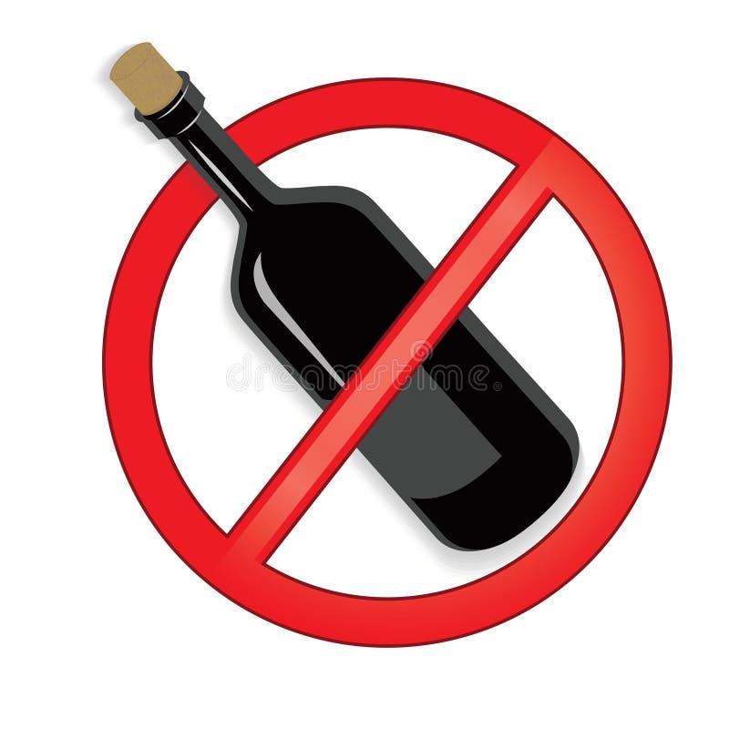 Żadny alkoholu znaka wektor na białym tle ilustracji