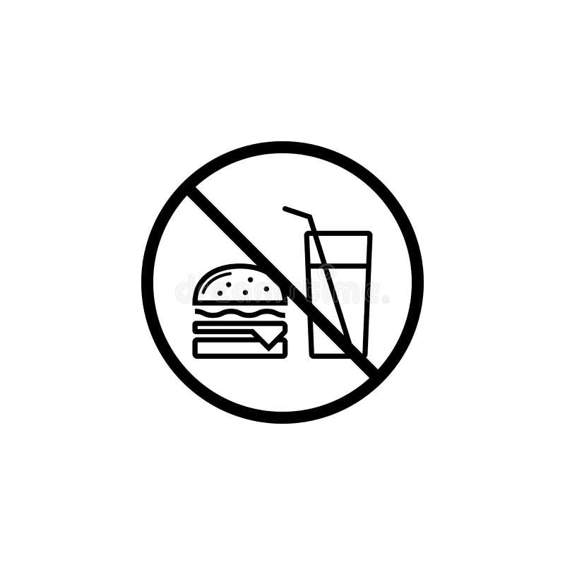 Żadny jedzenie pozwolił kreskową ikonę, prohibicja znak ilustracji
