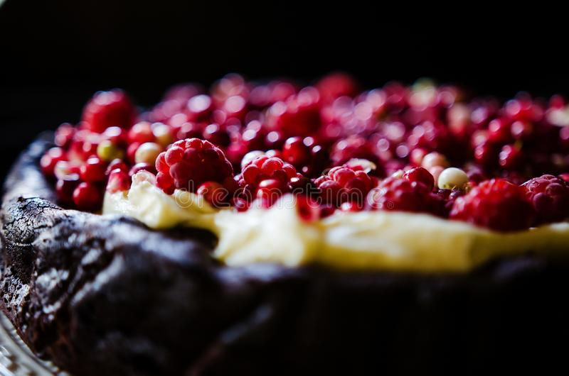 Żadny mąka czekoladowy tort z śmietanką i jagodami obrazy royalty free