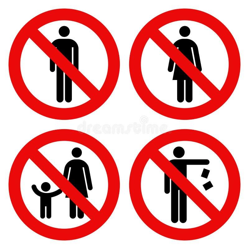 Żadny mężczyzna znak, Żadny kobieta znak, rodzic i dziecko, podpisujemy, Żadny śmiecić royalty ilustracja