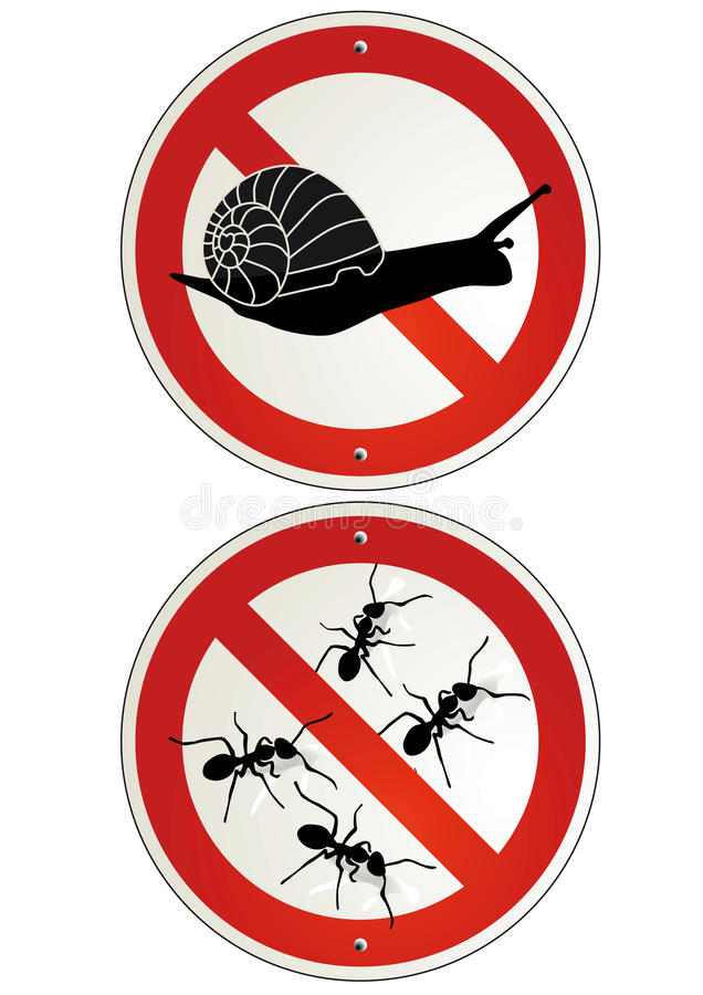Żadny mrówek lub ślimaczków ogródu znaki ilustracja wektor