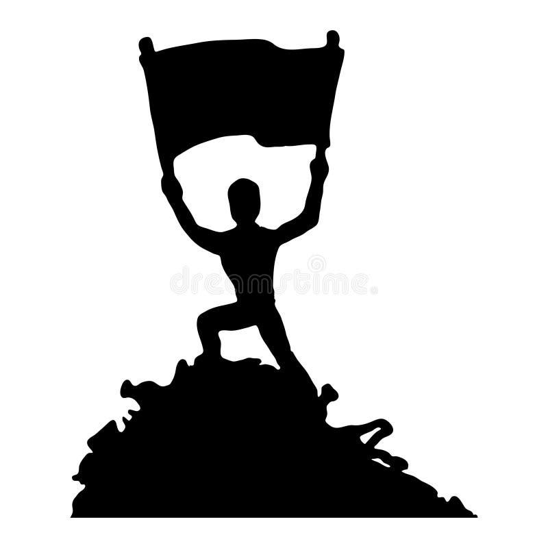 ?adny plastikowy sygna? Sylwetka mężczyzna z plakatem Protest przeciw śmieci niebieski obraz nieba t?czow? chmura wektora ilustracja wektor