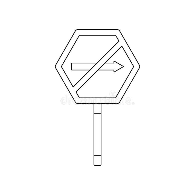 ?adny prawa barwiona ikona Element drogowi znaki i z??cza dla mobilnego poj?cia i sieci apps ikony Kontur, cienieje kreskow? ikon ilustracja wektor