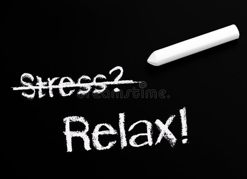 Żadny stresu Blackboard i kreda zdjęcie royalty free