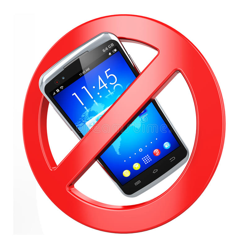 Żadny telefon komórkowy znak ilustracja wektor