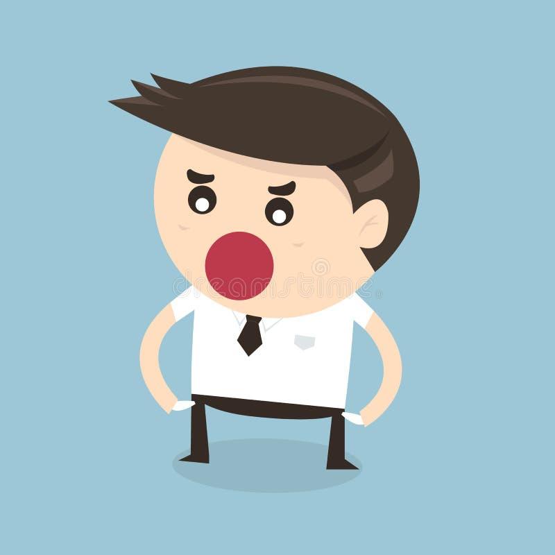 Żadny więcej pieniądze, płaski projekt Biznesmena płaski projekt ilustracja wektor
