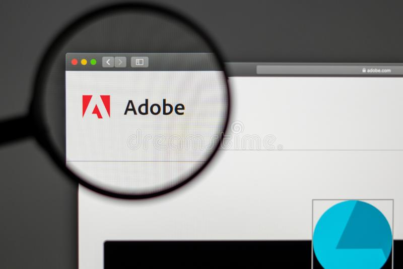 Adobe company website homepage. Close up of Adobe logo. stock image