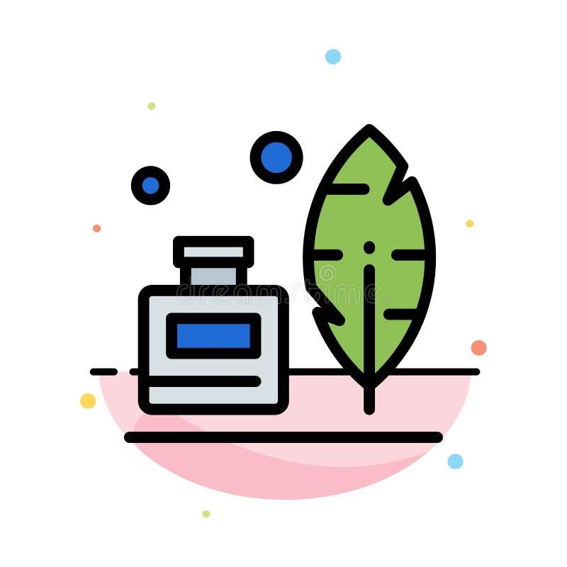 Adobe fjäder, Inkbottle, amerikansk abstrakt plan färgsymbolsmall royaltyfri illustrationer