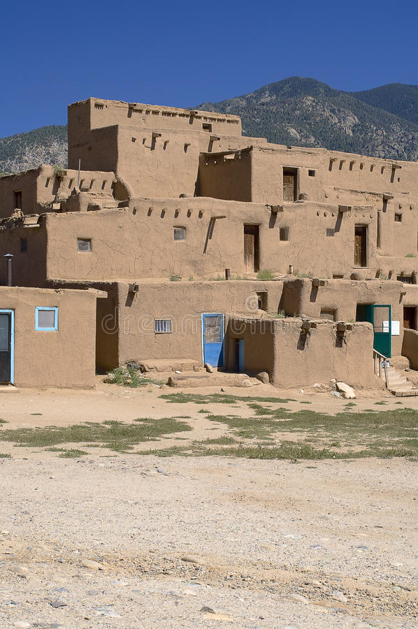 Adobe Houses in the Pueblo of Taos stock images