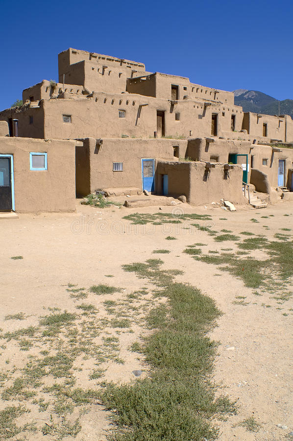 Adobe houses in the pueblo of taos royalty free stock for Adobe construction pueblo co