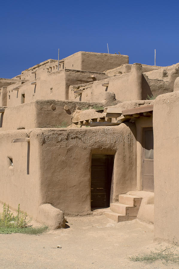Adobe Houses in the Pueblo of Taos. royalty free stock image