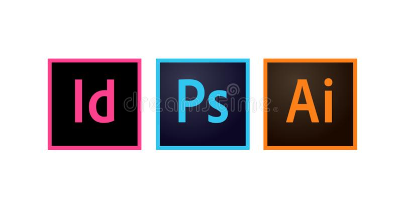 Adobe Icons Photoshop, Illustrator and Indesign Editorial Vector. Illustration vector illustration