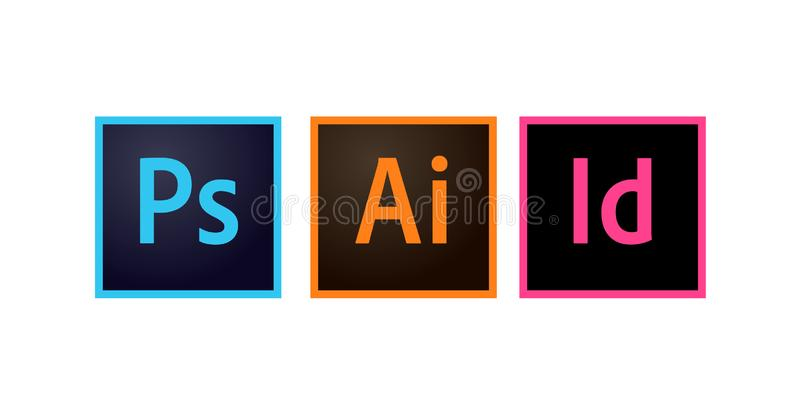 Adobe Icons Photoshop, Illustrator and Indesign Editorial Vector. Illustration stock illustration