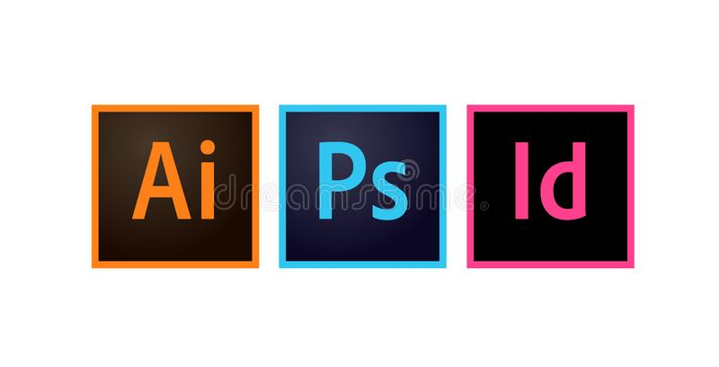 Adobe Icons Photoshop, Illustrator and Indesign Editorial Vector royalty free illustration