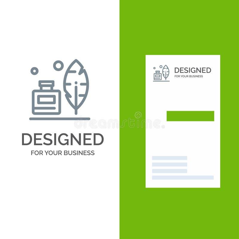 Adobe, pena, Inkbottle, americano Grey Logo Design e molde do cartão ilustração stock