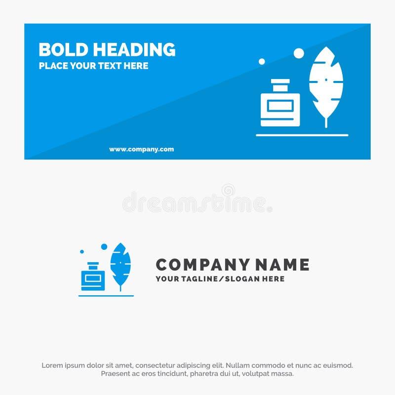 Adobe, pena, Inkbottle, bandeira contínua americana do Web site do ícone e negócio Logo Template ilustração royalty free