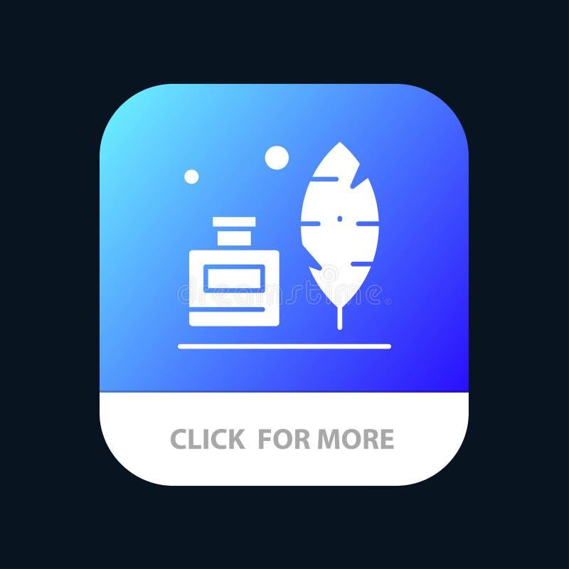 Adobe, pena, Inkbottle, botão móvel americano do App Android e do Glyph do IOS versão ilustração royalty free