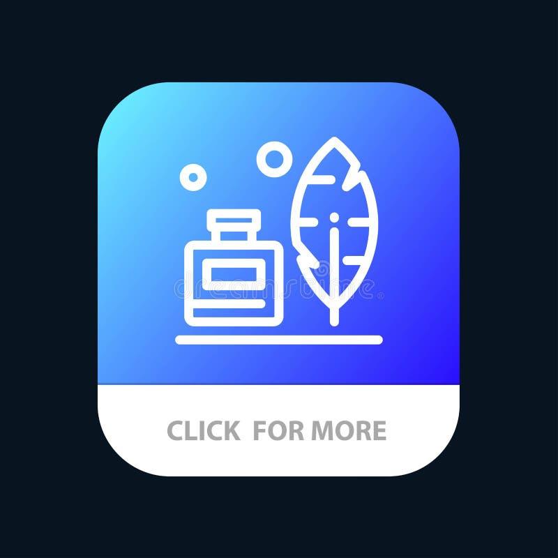 Adobe, pena, Inkbottle, botão móvel americano do App Android e linha versão do IOS ilustração royalty free