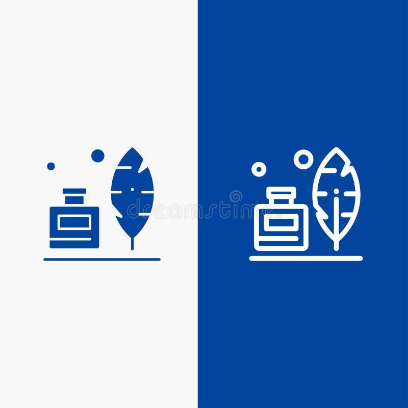 Adobe, pena, Inkbottle, do ícone contínuo azul da linha e do Glyph de bandeira do ícone contínuo americano da linha e do Glyph ba ilustração royalty free