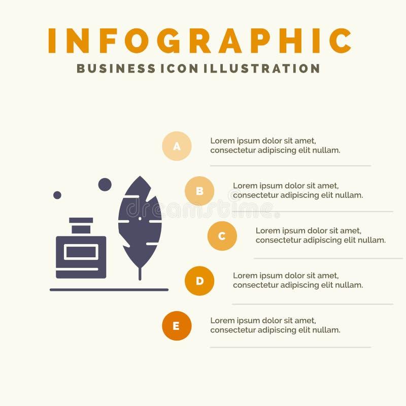 Adobe, pena, Inkbottle, fundo contínuo americano da apresentação das etapas de Infographics 5 do ícone ilustração stock