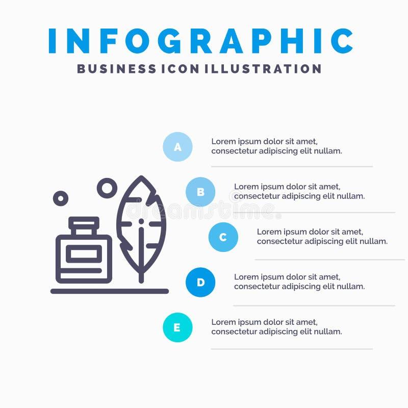 Adobe, pena, Inkbottle, linha americana ícone com fundo do infographics da apresentação de 5 etapas ilustração do vetor