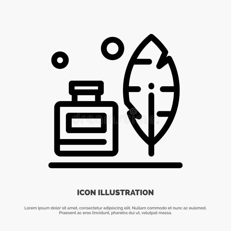 Adobe, pena, Inkbottle, linha americana vetor do ícone ilustração do vetor