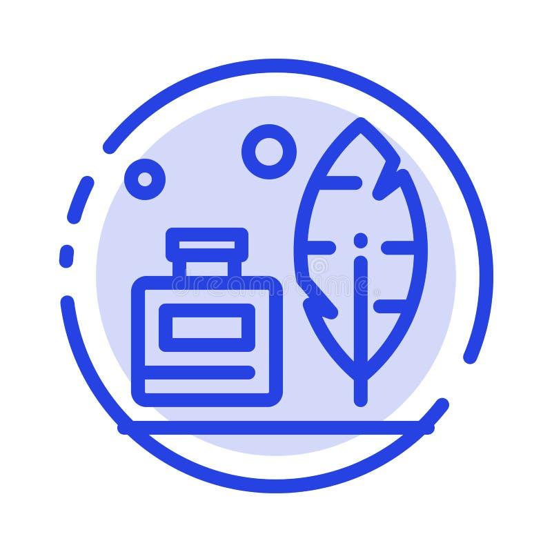 Adobe, pena, Inkbottle, linha pontilhada azul americana linha ícone ilustração do vetor