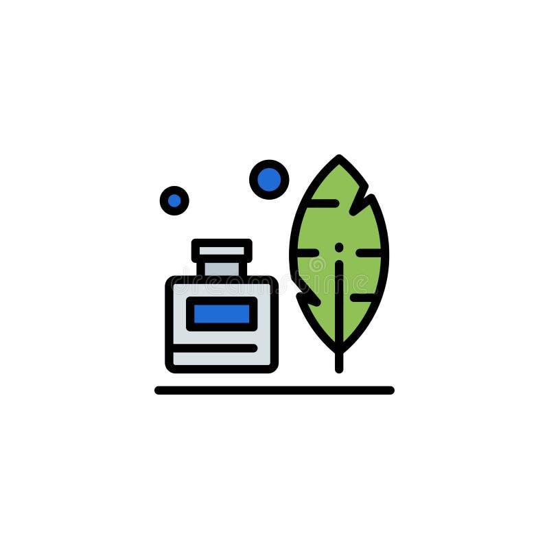 Adobe, pena, Inkbottle, negócio americano Logo Template cor lisa ilustração do vetor