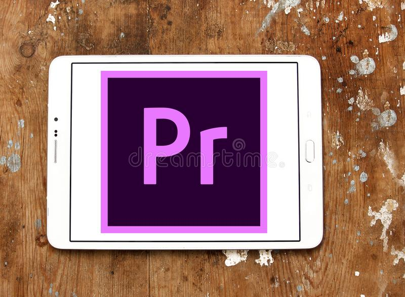 Adobe-Première Proembleem royalty-vrije stock afbeeldingen