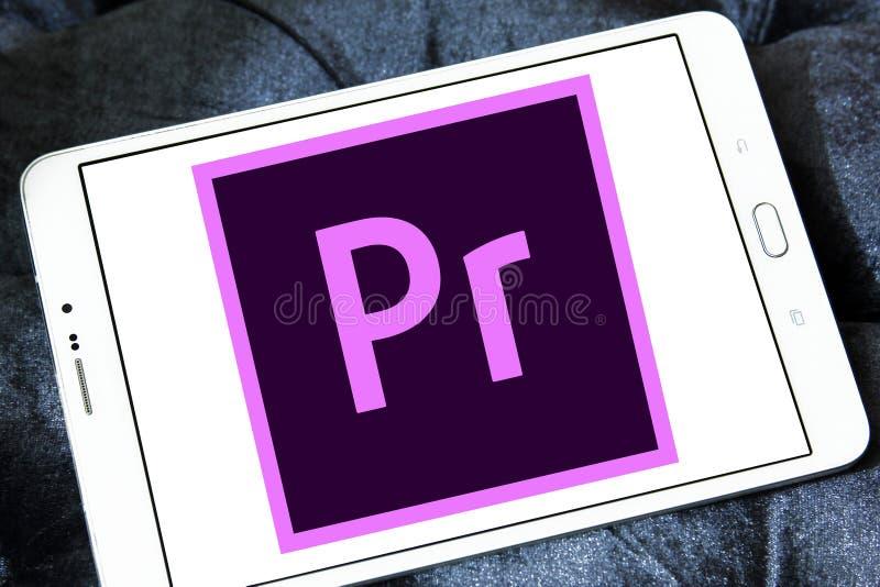 Adobe-Première Proembleem stock afbeeldingen