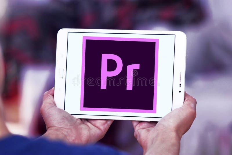 Adobe-Première Proembleem royalty-vrije stock foto's