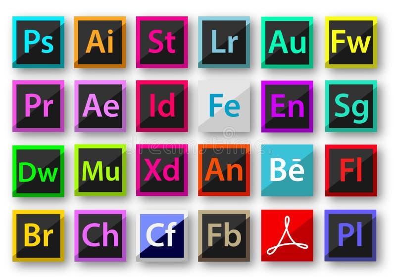 Adobe product icons material design. Adobe family icon design, Photoshop, Illustration, Ligtroom After effect, Premierepro, etc stock illustration