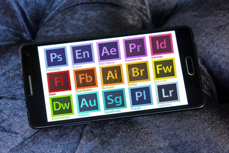 Adobe programmerar logoer och symboler royaltyfri foto